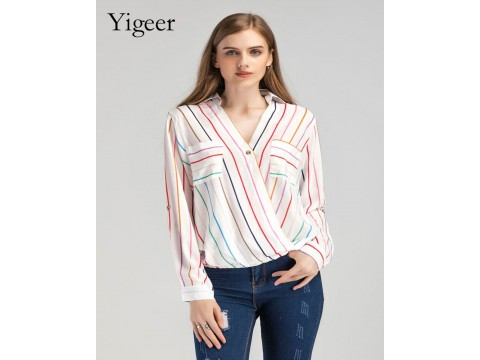 Long Sleeve Feminine Striped  Women's Shirt