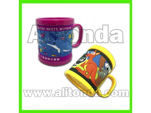 PVC mugs cartoon cute children mugs custom mugs for aquarium office travel agent promotional gifts